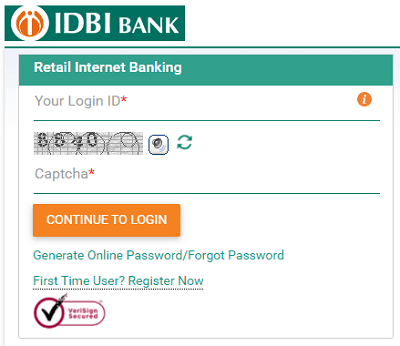 IDBI retail internet banking login form