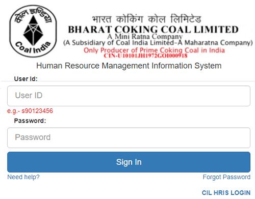 bccl HRMIS employee login page