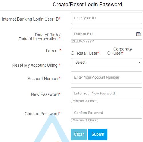 canara net banking password reset form