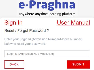 reset password facility on e-praghna portal